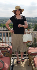 Tan Broom Skirt with Black Ornimented T (krislagreen) Tags: black tv legs sandals cd skirt tgirl transgender purse transvestite crossdresser crossdress tg patent xdresser