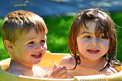 Siblings (Sharon Dow Photography - Shoulder's on the mend :)) Tags: uk summer england water kids children fun sussex bucket nikon pretty elizabeth westsussex beth albert bert bathtime horsham childsplay d3100 sharondowphotography