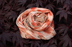 (red2white) Tags: pink red wool coral scarf print leaf pattern handmade terracotta silk salmon wrap sherbet printed naturally