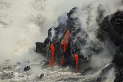 Molten Lava flowing into the Pacific Ocean near Kapalana, Hawaii (Damon Tighe) Tags: ocean red hot water flow island kalapana hawaii lava big glow steam formation hawaiian land hi flowing geology molten phoehoe