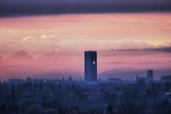O2 Tower in Munchen (Xtraphoto) Tags: morning blue light tower rose alpes munich landscape bavaria licht nebel o2 turm gebude morgennebel broturm