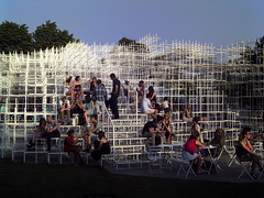 Midsummer evening, Serpentine Gallery Pavilion 2013 by Sou Fujimoto (Cybermyth13) Tags: park uk summer england white building london garden fun evening construction funny midsummer steel pavilion kensingtongardens lattice serpentine serpentinegallery fujimoto londonist summerpavilion 2013 soufujimoto
