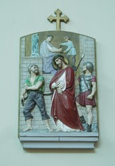1st Station of the Cross: Christ is Condemned to Death (Aidan McRae Thomson) Tags: church catholic warwickshire stationofthecross hillmorton