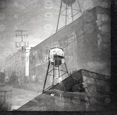 Brooklyn Park (falseverdict) Tags: bw 120 film mediumformat diy lomo industrial doubleexposure michigan watertower detroit 120film diana lofts expiredfilm corktown selfdeveloped ilfotecddx brooklynpark 2013 laurenpaljusaj
