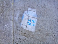 We Are the 2% Milk Carton Political Sidewalk Stencil (Lynn Friedman) Tags: sanfrancisco ca street 2 usa 1 stencil grafitti tag politics humor fillmore milkcarton politicalhumor lowerhaight 94117 lynnfriedman wearethe99 wearethe2