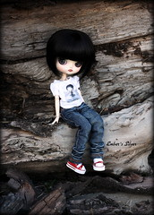 Climb (pure_embers) Tags: wood uk black tree girl rock metal silver garden dark hair grey climb cool log eyes doll dolls dal trainers tattoos chick jeans attitude planning wig converse skate short angry pout teenager modified skater pure jun embers pouty slouch leeke obitsu leekeworld dalangry ttya pureembers