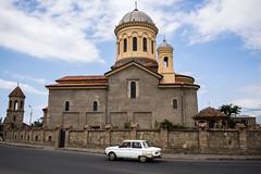 Gori (Miha Pavlin) Tags: road old trip travel vacation white church car georgia town europe union adventure soviet caucasus eastern sakartvelo advanture gori gruzija