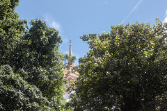 Tucked Away (Gregory Desimone) Tags: trees sky tower 35mm canon thailand temple rebel bangkok t1i