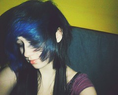 (Hannah Dropdead) Tags: blue girl hair colorful bluehair blackhair dyedhair scenehair colorfulhair multicolouredhair scenefringe flickrandroidapp:filter=none hannahdropdead
