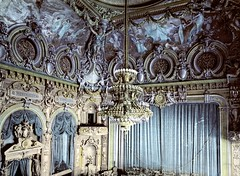 Monte Carlo Theater Interior (sjrankin) Tags: decorations theater riviera theatre edited interior library montecarlo chandelier photograph colorized orchestra curtains libraryofcongress handcolored baroque musicalinstruments orchestrapit photochrom detroitpublishingcompany detroitphotographiccompany c1895 detroitphotographycompany 8december2013 montecarloriviera