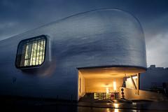 The Whale Under the Rain (Gilderic Photography) Tags: city blue light urban window rain architecture modern lumix europe raw belgium belgique belgie parking pluie moderne panasonic lumiere whale liege ville fenetre lightroom patinoire baleine gilderic lx3 dmclx3