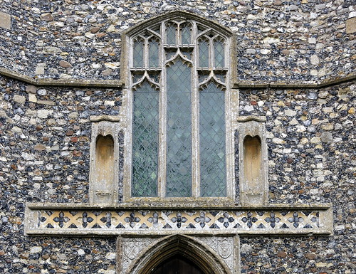 The west window (c.1460), the Church of St Mary, Wilby, Suffolk, England