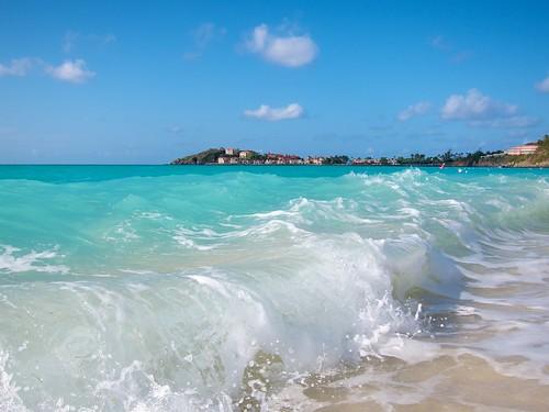 caribbean stmaarten beach waves bright