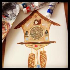 German hand painted cuckoo clock (giantgnome.design) Tags: cute art clock work giant paper design gnome paint handmade progress wip german behind scenes cuckoo uploaded:by=flickrmobile flickriosapp:filter=nofilter
