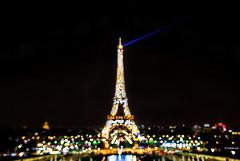 Paris dreams... (Charlie_Joe) Tags: longexposure travel paris france architecture night lights cityscape colours tour dof bokeh eiffeltower perspective outoffocus searchlight trocadero manualfocus palaisdechaillot ironlady ladamedefer