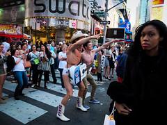 DSCF1057.jpg (john fullard) Tags: street city nyc urban newyork color colour manhattan candid timessquare nakedcowboy fujix10