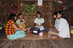 A LG-PSI agent selling products in her community in Myanmar