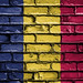 National Flag of Chad on a Brick Wall