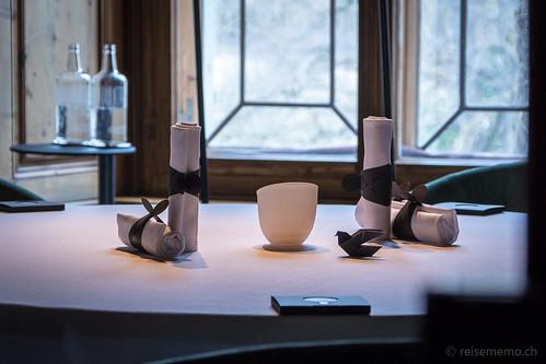 Tischgedeck im Restaurant Schloss Schauenstein