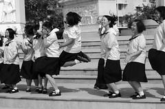 Happy Thai girls (Thijs de Zeeuw) Tags: girls thai children monochroom black white asian bangkok happy school blackandwhite city street