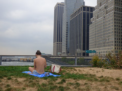 Topless Lower Manhattan (Slip Mahoney) Tags: chargingbull balls testicles picnic hairdo mightyquinn prayerchurch sundown