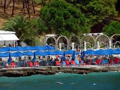 beach club at Arvanitia IMG_4078 (mygreecetravelblog) Tags: greece peloponnese nafplio nauplion beach nafpliobeach arvanitia arvanitiabeach outdoor seaside coast shore beachclub beachbar lounge sunbeds