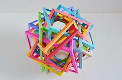 Twelve Interlocking Irregular Triangular Prisms v.1 (Byriah Loper) (Byriah Loper) Tags: origami origamimodular modularorigami modular paperfolding paper polyhedron polygon kami kusudama compound byriahloper byriah abstract geometric complex
