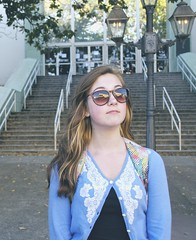 Simple (Lilly K Mayfield) Tags: blue portrait reflection building girl sunglasses outside photography photo downtown pretty lace streetphotography simple prettygirl strairs prettycolors lightbrownhair reflectioninsunglasses reflectionoflight