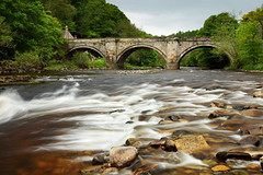 Watery Richmond (matrobinsonphoto) Tags: bridge green beach rain river flow grey waterfall spring long exposure day stones yorkshire richmond rapids miserable dull dales swaledale swale