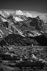 Mountain Shadows (Abbey.Vogler) Tags: winter blackandwhite snow mountains landscape rmnp rockymountainnationalpark landscapesshotinportraitformat