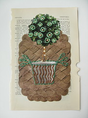 "DAY 314 - 12/26 - ""Content"" (The Paper Button Studios) Tags: abstract tree art thread collage mixedmedia sewing content pottedplant homedecor humble sewonpaper karimcdonald"