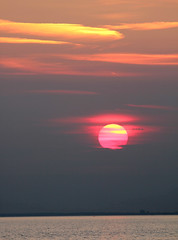 Sunset, Sea, orange clouds, The Street (Jim_Higham) Tags: street uk sunset sea summer england evening kent europe waves very britain tide low shingle eu bank solstice whitstable mid equinox neap