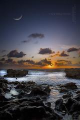 Mystic Sunrise (DirectX1) Tags: ocean travel sea moon beach nature water sunrise landscape rocks florida blowing crescent adventure exotic moonrise tropical preserve beachsunrise blowingrocks oceansunrise