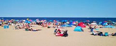 Beach Umbrellas (markchevy) Tags: ocean beach landscape photo newjersey interesting colorful pix graphic sandy asburypark nj picture scene atlantic vista boardwalk umbrellas jerseyshore pictorial oceangrove markchevy johnspilatro