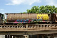 EIGHTS JOBS (The Braindead) Tags: art minnesota train bench photography graffiti painted tracks minneapolis rail explore beyond the