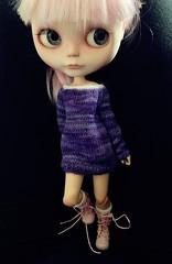Grape purple Alpaca silk lace sweater