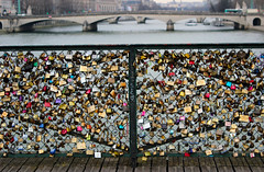 Pont des Arts (erinstotle) Tags: bridge paris france seine french romance locks parisian padlocks pontdesarts passerelledesarts loversbridge pedestrianbridges famousbridges europeanbridges