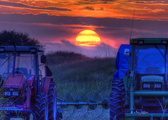Harvest Sun - Blue Ridge Mountains Virginia Sunset (Terry Aldhizer) Tags: sunset sky sun grass clouds harvest terry fields tractors hdr aldhizer terryaldhizer terryaldhizercom