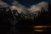 Night at Moraine Lake (cec403) Tags: longexposure canada mountains reflection night clouds stars rockies dock canoes alberta moonlight banffnationalpark morainelake valleyofthetenpeaks wenkchemna canont4i