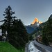 The Dawn of Zermatt and the Golden Top of Matterhorn