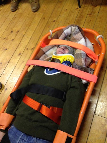 Tobermory RNLI Robin Harrowsmith in casualty exercise