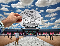 Pencil Vs Camera - 76 (Ben Heine) Tags: old travel people streetart art heritage monument clouds fire photography fly dragon drawing main attack perspective creative culture progress visit palace godzilla illusion seoul reality imagination predator southkorea nuages creature makingof retouching hold gyeongbokgung cailles patrimoine augmentedreality attaque godzila southcorea benheine pencilvscamera