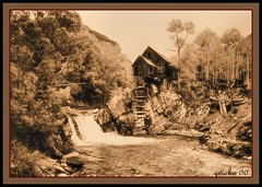 Crystal Mill CO 2000-2-001 (the Gallopping Geezer '5.0' million + views....) Tags: bw mill abandoned film sepia canon town blackwhite cowboy colorado 2000 crystal decay ghost scenic historic mining faded worn western ghosttown rockymountains marble backroads derelict geezer powerhouse crystalmill oldwest sheepmountain