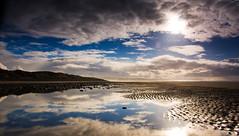Aberdovey Beach (HannahGE) Tags: blue winter sea reflection beach water wales out coast nationalpark sand tide low january snowdonia leadin