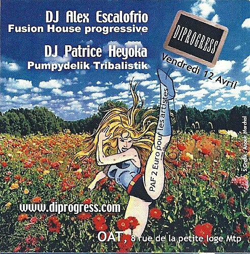 "Dj Patrice Heyoka - Flyer 12/04/2002 - DiProgress @ OAT (Montpellier) <a style=""margin-left:10px; font-size:0.8em;"" href=""http://www.flickr.com/photos/110110699@N03/12211361953/"" target=""_blank"">@flickr</a>"