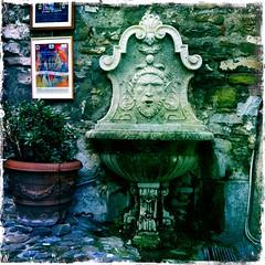Dolceaqua. (azurblue) Tags: fountain square italia fontaine italie iphone luguria dolceaqua lugurie hipstamatic