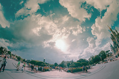 The Hub | Magic Kingdom (chris.alcoran) Tags: world street sky people castle beautiful st clouds canon mouse photography florida magic main crowd kingdom disney mickey fisheye cinderella t3 wdw walt cloudporn mk edit skyporn