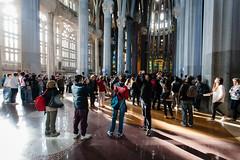 Inside the Sagrada Famlia, Barcelona (trondjs) Tags: barcelona travel people espaa church architecture canon spain interior basilica landmark catalonia cameras gaudi gaud 5d sagradafamilia 1740mm photographing 2012 trondjs cataluna