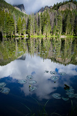 Nymph Lake (K Michele Photo) Tags: morning blue trees sky lake mountains reflection green water clouds forest sunrise landscape outdoors dawn woods colorado hiking rockymountains rockymountainnationalpark