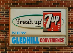1960's 7up backlit (f o t o o r a n g e) Tags: circa 1960 7up backlitsign mortimeravenue toronto